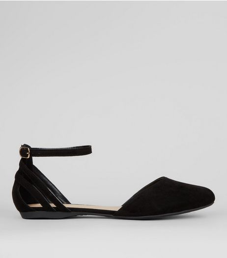 Wide Fit Black Strap Back Sandals | New Look