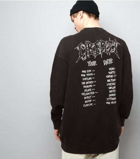 Black Acid Wash Liberty Print Tour Sweater | New Look