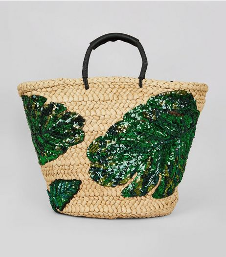 Green Sequin Palm Leaf Basket Bag | New Look