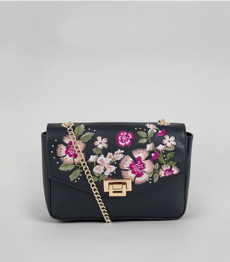 Black Floral Embroidered Chain Strap Shoulder Bag | New Look