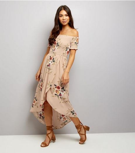 Parisian Camel Floral Print Bardot Neck Dress  | New Look