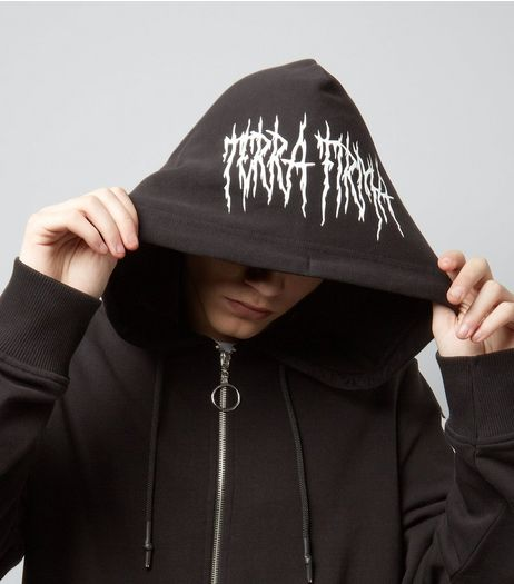 Black The End Print Zip Front Hoodie | New Look
