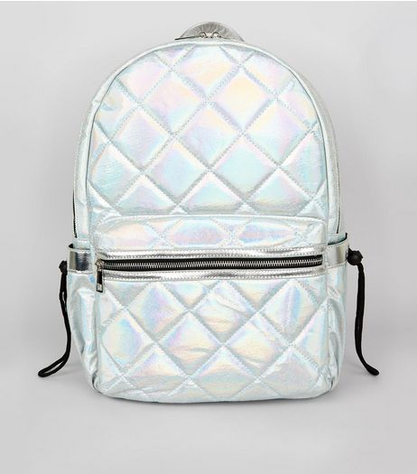 Pale Blue Metallic Backpack | New Look