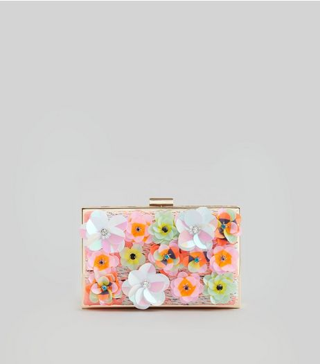 Pink Sequin Flower Box Clutch | New Look