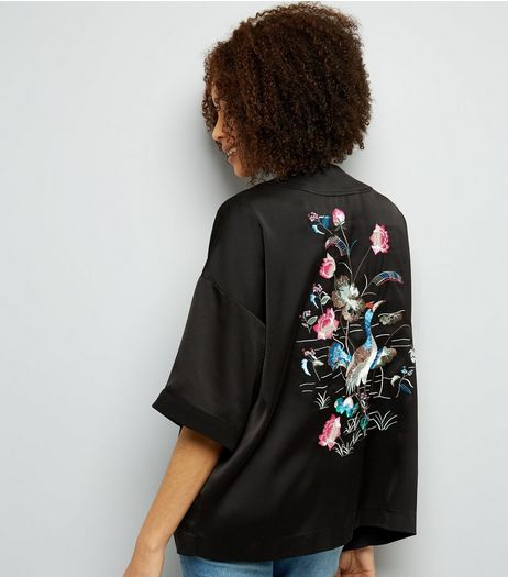 Black Bird Embroidered Blazer  | New Look