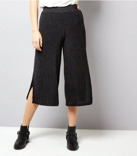 Black Wide Split Leg Cropped Trousers  | New Look