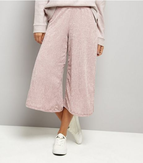 Mid Pink Wide Leg Cropped Trousers  | New Look