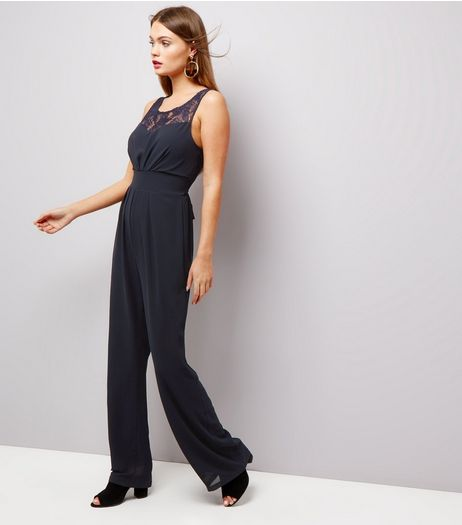 Mela Navy Lace Panel Sleeveless Jumpsuit  | New Look