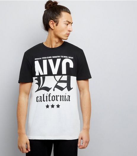Black Spliced NYC California Printed T-Shirt | New Look