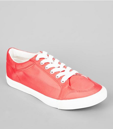 Wide Fit Coral Satin Lace Up Trainers | New Look