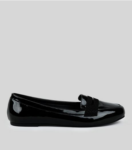 Wide Fit Black Comfort Patent Loafers  | New Look