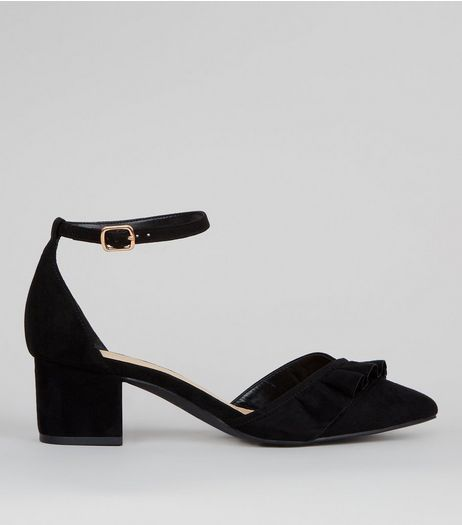 Wide Fit Black Frill Trim Mini Block Heels | New Look