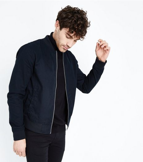 Navy Cotton Bomber Jacket | New Look