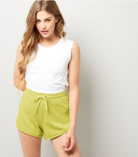 Neon Yellow Jersey Shorts | New Look