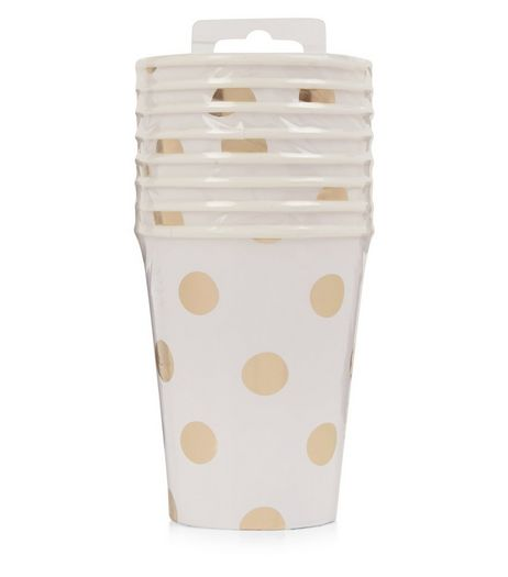 White Spot Print Paper Cups | New Look