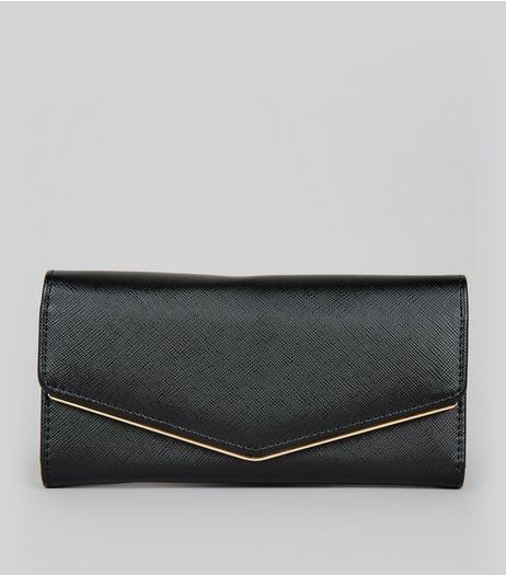 Black Metal Trim Foldover Purse | New Look