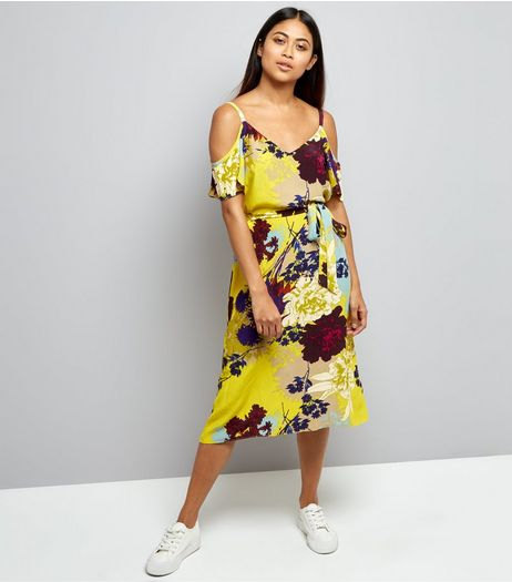 Petite Yellow Floral Cold Shoulder Midi Dress | New Look
