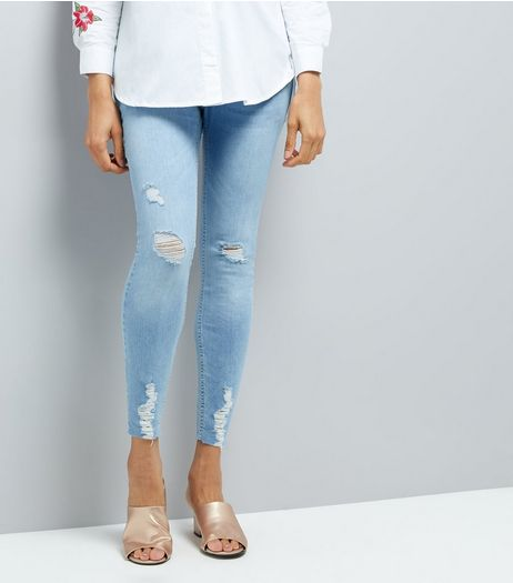 Maternity Pale Blue Ripped Over Bump Skinny Jeans | New Look