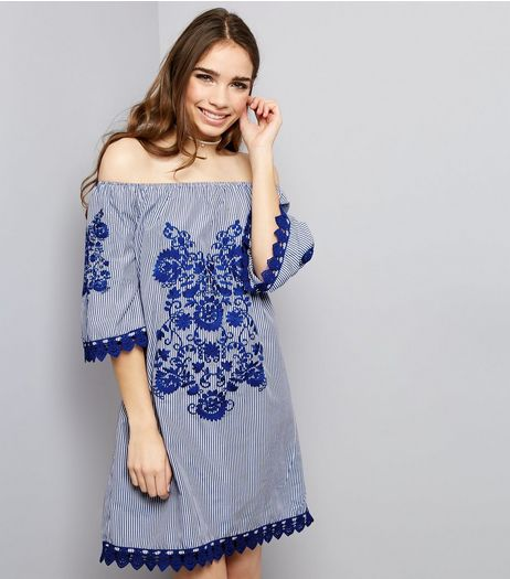 Parisian Blue Floral Embroidered Bardot Neck Dress  | New Look