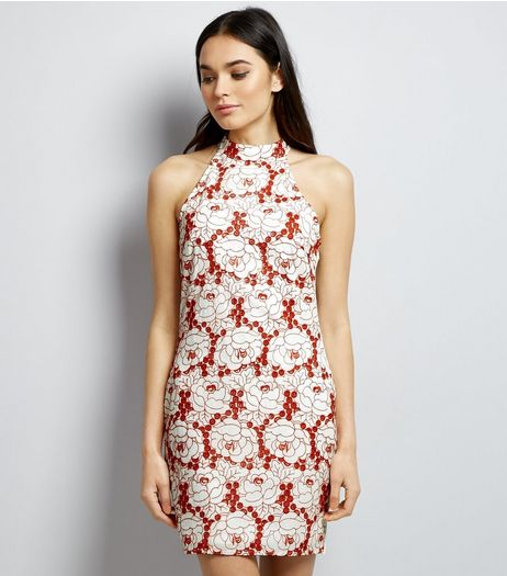 Parisian White Floral Embroidered Funnel Neck Dress | New Look