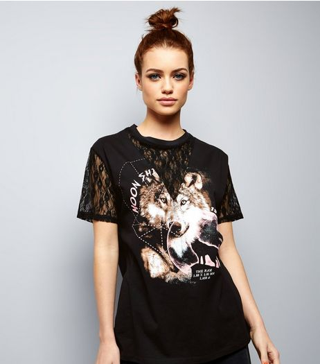 Petite Black Wolf Print Lace Panel T-Shirt | New Look