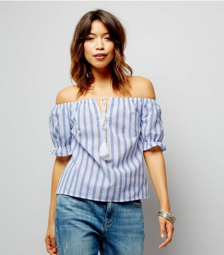 Parisian Blue Gingham Tie Front Bardot Top | New Look