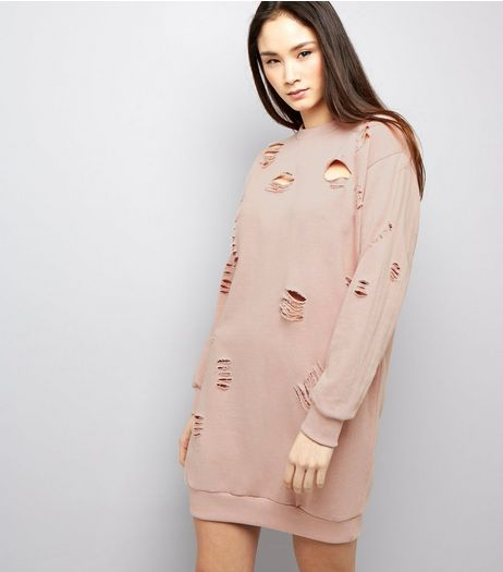 Parisian Mid Pink Ripped Jumper Dress | New Look