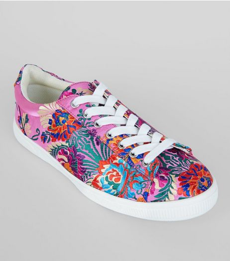Pink Satin Floral Brocade Trainers | New Look