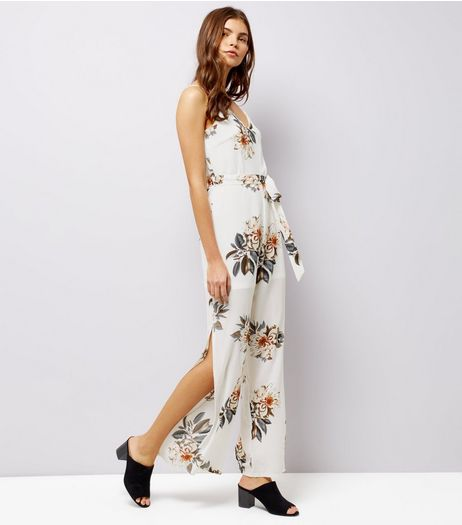 Parisian White Floral Print Jumpsuit  | New Look