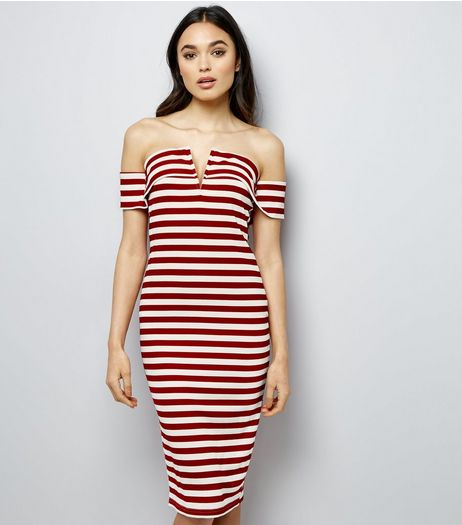Parisian Red Stripe Bardot Neck Knit Dress | New Look