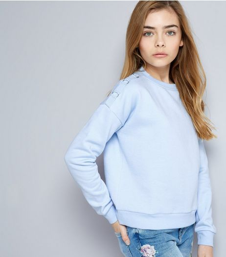 Teens Pale Blue Eyelet Shoulder Sweater | New Look
