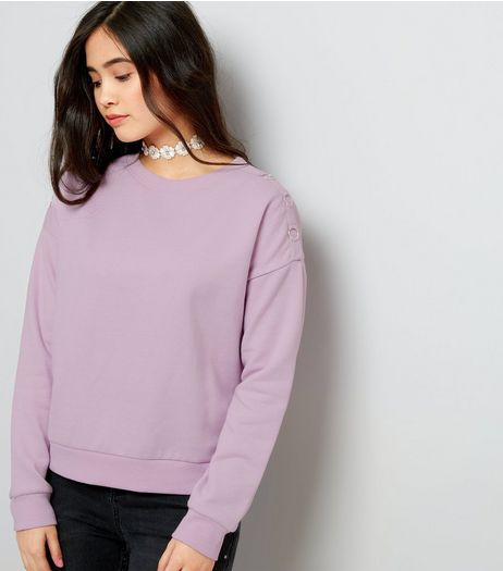 Teens Lilac Eyelet Shoulder Sweater | New Look