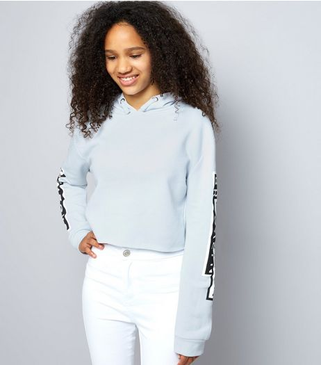 Teens Pale Blue Brooklyn Shadow Print Cropped Hoodie | New Look