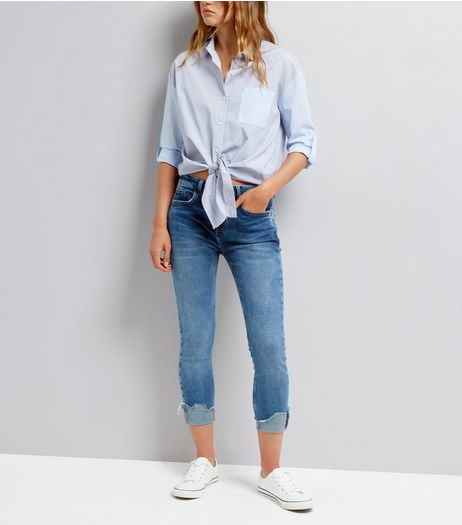 Blue Rolled Hem Skinny Washed Jeans | New Look