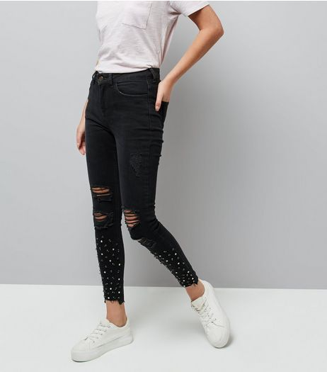 Black Stud Trim Ripped Fray Hem Jenna Jeans  | New Look