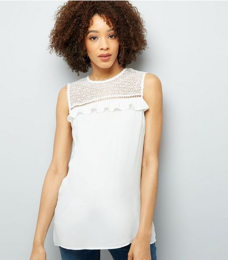 Maternity Cream Lace Frill Trim Sleeveless Top | New Look