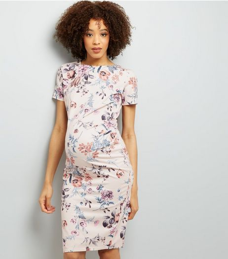 Maternity Pink Floral Print Bodycon Dress | New Look