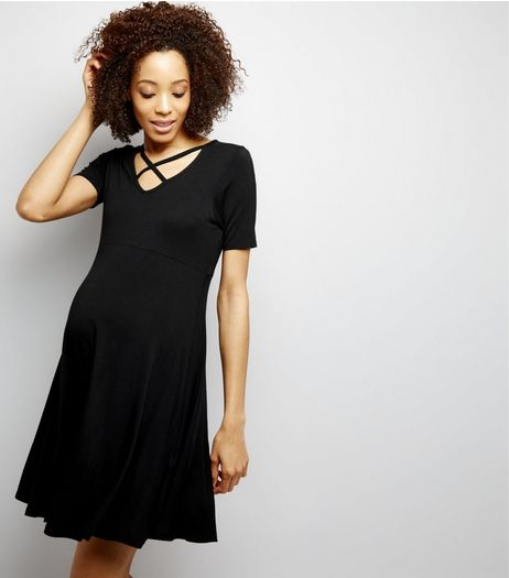 Maternity Black Cross Strap Front Skater Dress | New Look