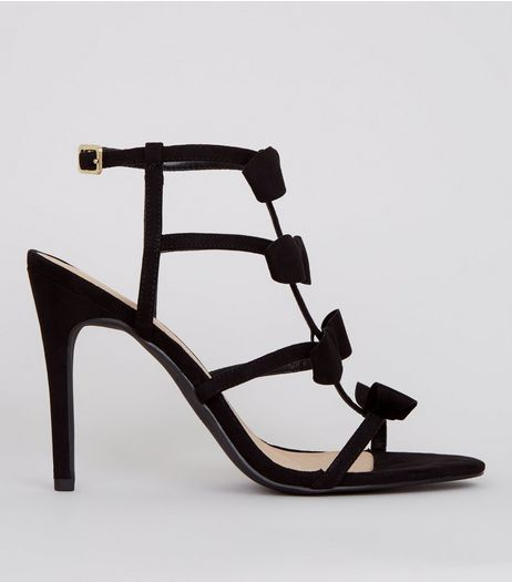 Black Suedette Multi Bow Strap Heels | New Look