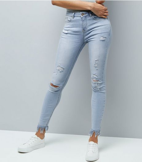 Tall Pale Blue Bleached Ripped Fray Hem Skinny Jeans | New Look