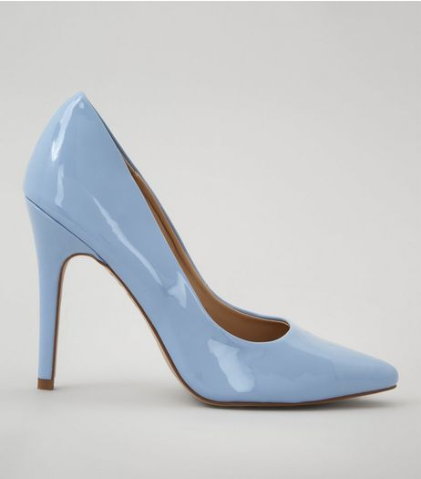 Pale Blue Patent Pointed Court Shoes | New Look