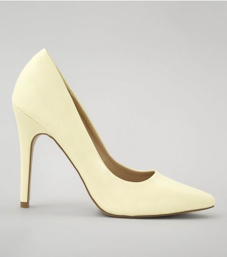 Yellow Patent Pointed Court Shoes | New Look