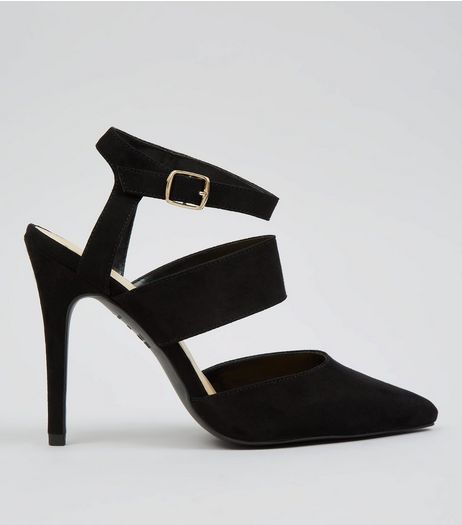 Black Suedette Ankle Strap Pointed Heels | New Look