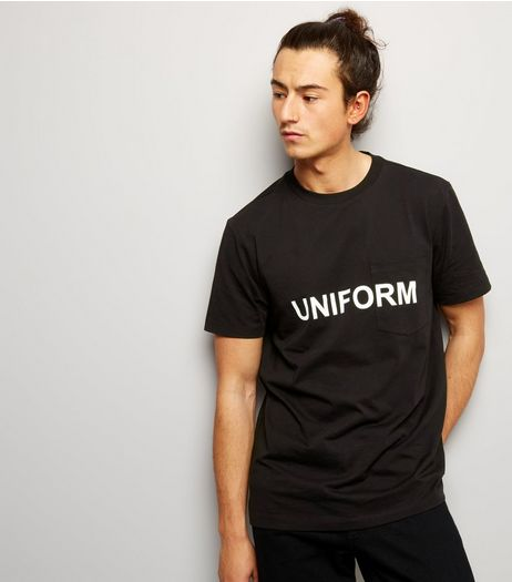 Black Uniform Printed Pocket Front T-Shirt | New Look