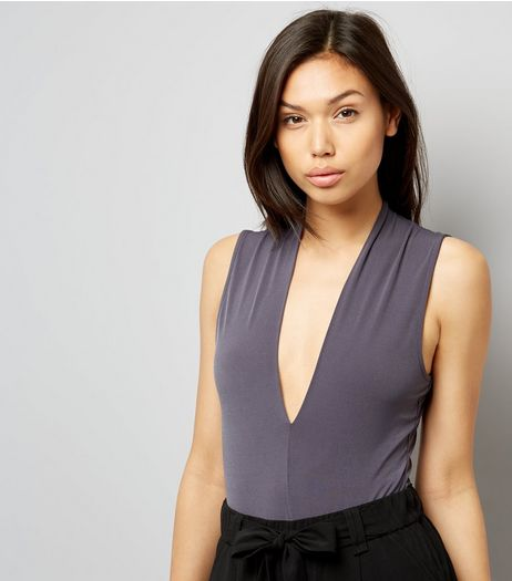 Dark Grey Plunge V Neck Bodysuit  | New Look