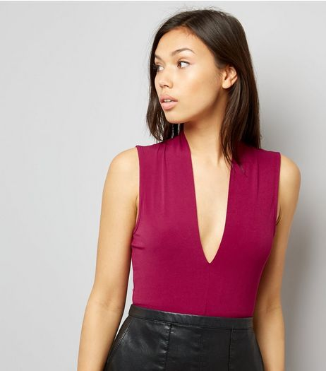 Mid Pink Plunge V Neck Bodysuit  | New Look