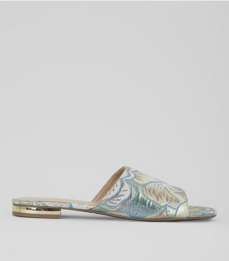Pastel Blue Floral Brocade Mules | New Look