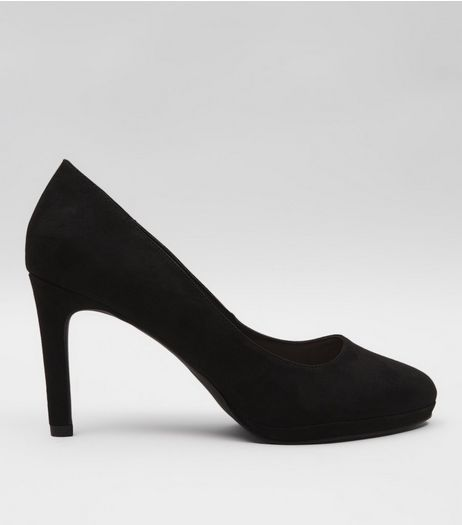 Black Comfort Suedette Platform Court Shoes | New Look