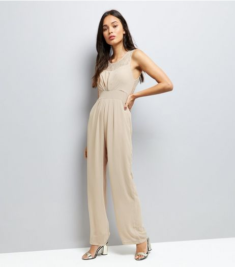 Mela Cream Tie Waist Sleeveless Jumpsuit  | New Look