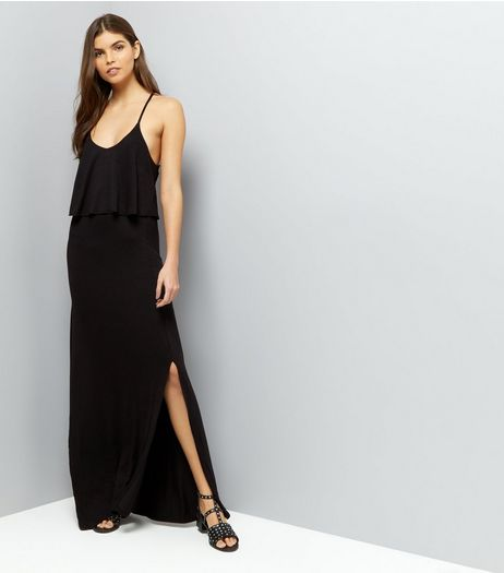 Black Layered Cross Strap Back Maxi Dress | New Look